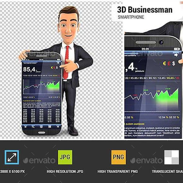 3D Businessman Statistics Smartphone