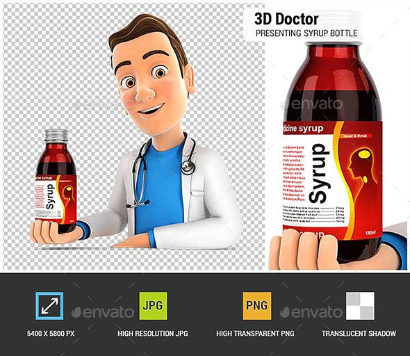 3D Doctor Presenting Big Syrup Bottle - Characters 3D Renders