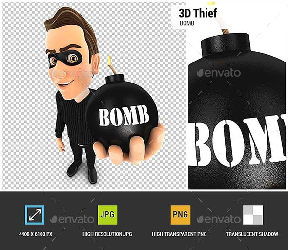 3D Thief Holding a Bomb - Characters 3D Renders