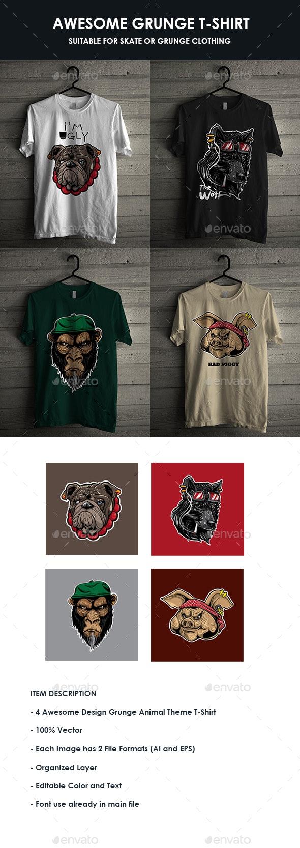 Bundle 4 Grunge T-Shirt Design