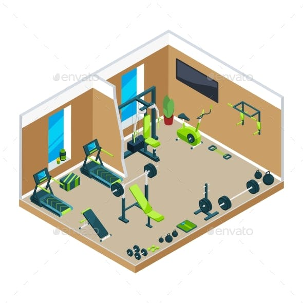 3D Isometric Illustrations of Gym