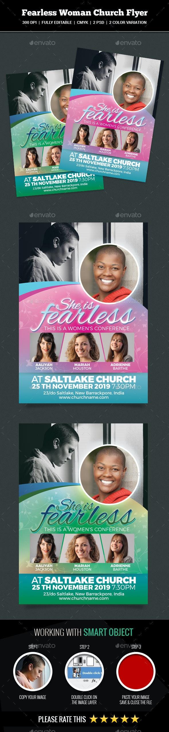 Fearless Woman Church Flyer - Church Flyers