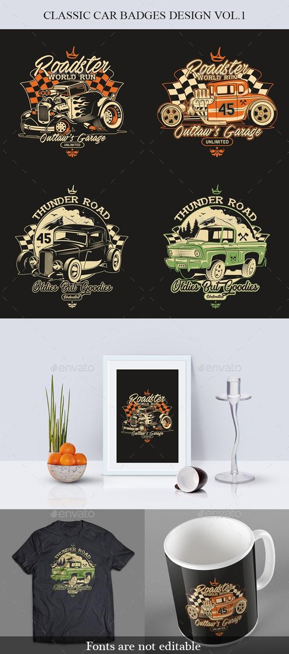 Classic Car Illustration - Decorative Symbols Decorative