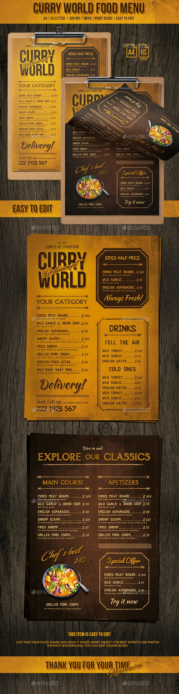 Curry World Retro Single Page Menu A4 and US Letter - Food Menus Print Templates