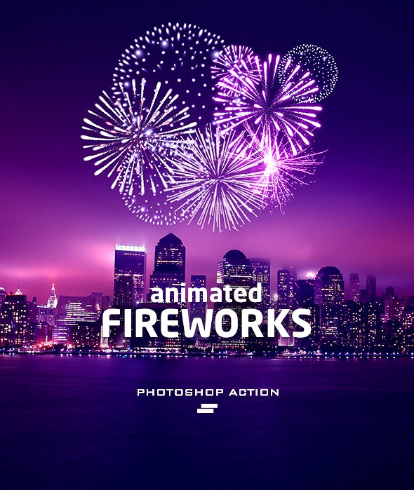 Gif Animated Fireworks Photoshop Action - Photo Effects Actions