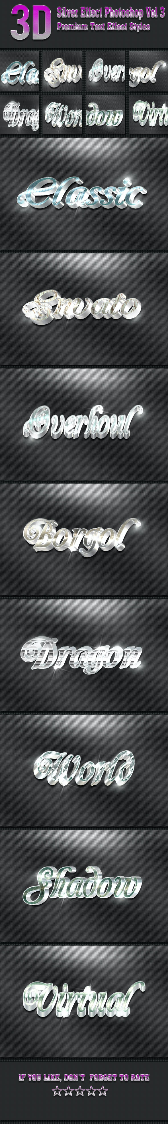 3D Silver Effect Photoshop Vol 3 - Text Effects Styles