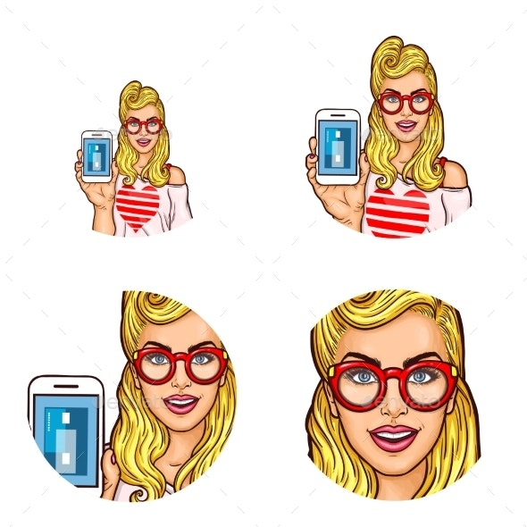 Set of Vector Pop Art Round Avatar Icon for Users - People Characters