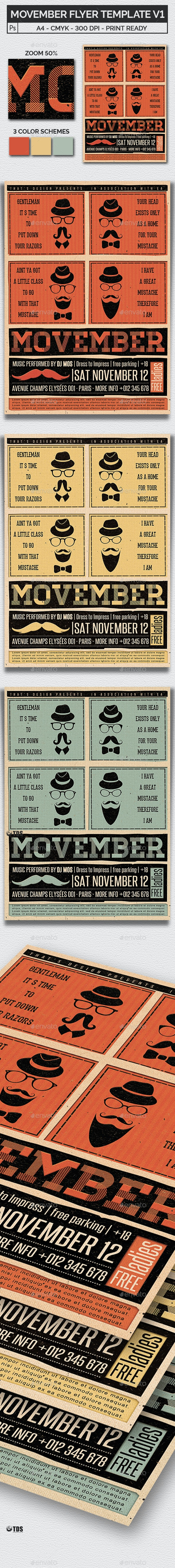 Movember Flyer Template V1 - Clubs & Parties Events