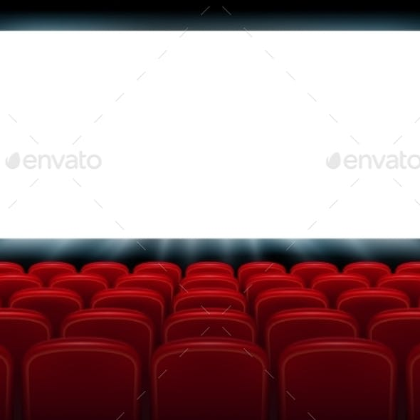 Realistic Cinema Hall Interior with Red Seats