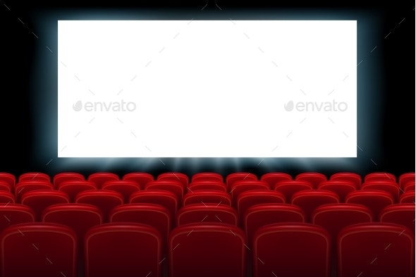 Realistic Cinema Hall Interior with Red Seats - Man-made Objects Objects