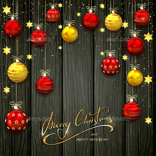 Christmas Balls and Stars on Black Wooden Background - Christmas Seasons/Holidays