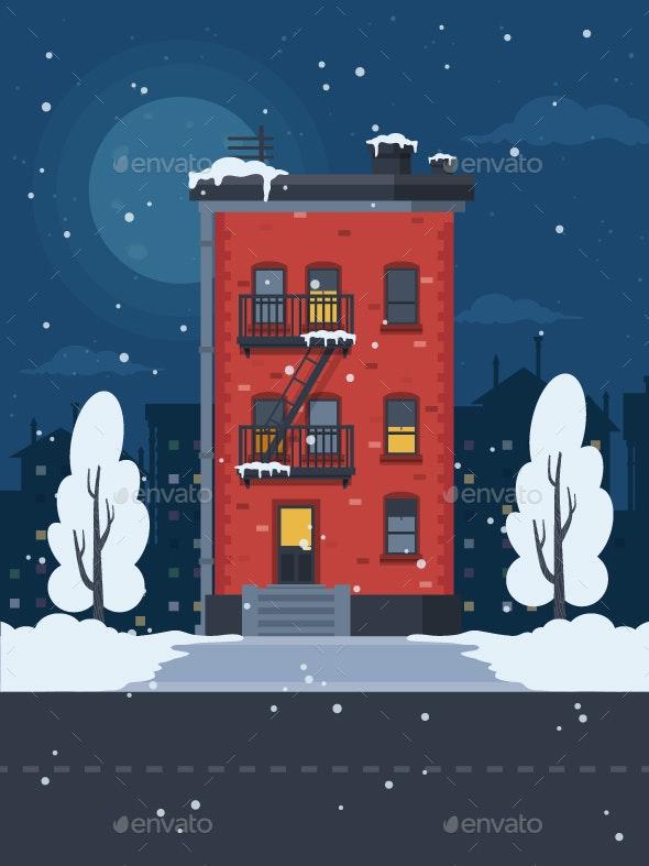 Winter Urban Landscape - Buildings Objects