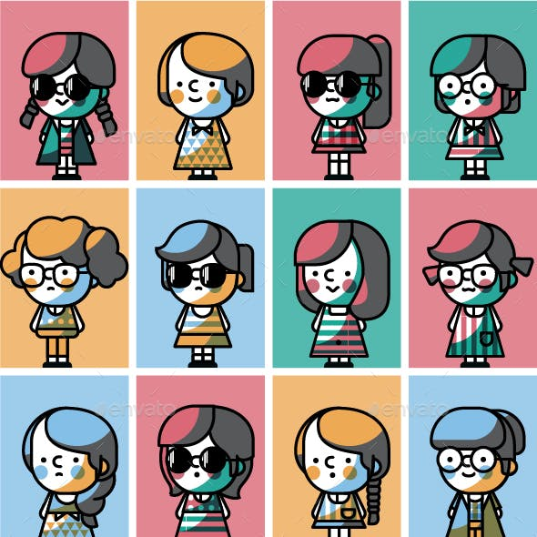 Character Generator and Girl Character Graphics, Designs & Templates