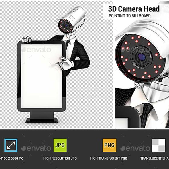 3D Security Agent with Camera Head Pointing to Blank Billboard