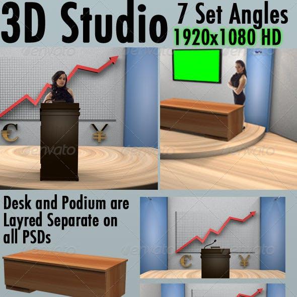 3D Virtual Set Backgrounds (7 Angles) 1920x1080 HD