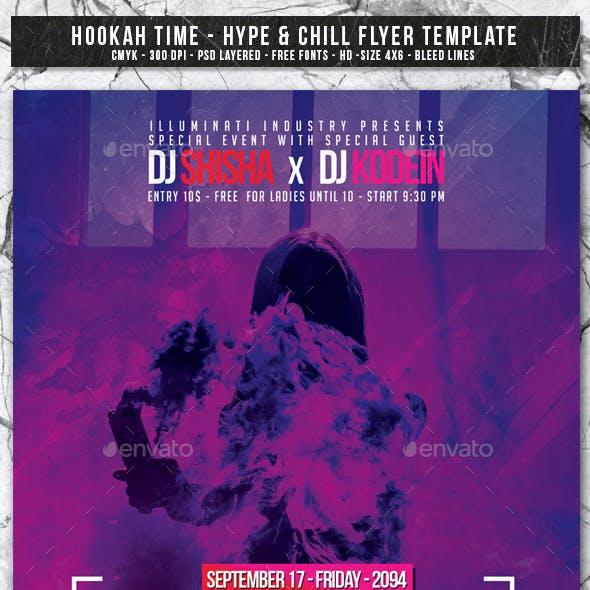 Hookah Time   6in1 Glow Flyer PSD Template
