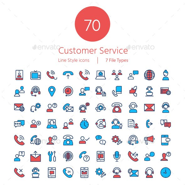 Customer Services line color icons