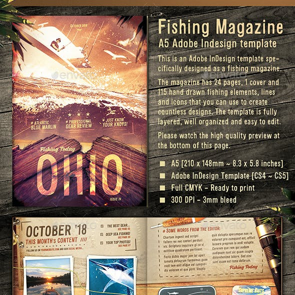 Fishing Magazine Template - 24 Pages, 115 Hand Drawn elements - A5 InDesign