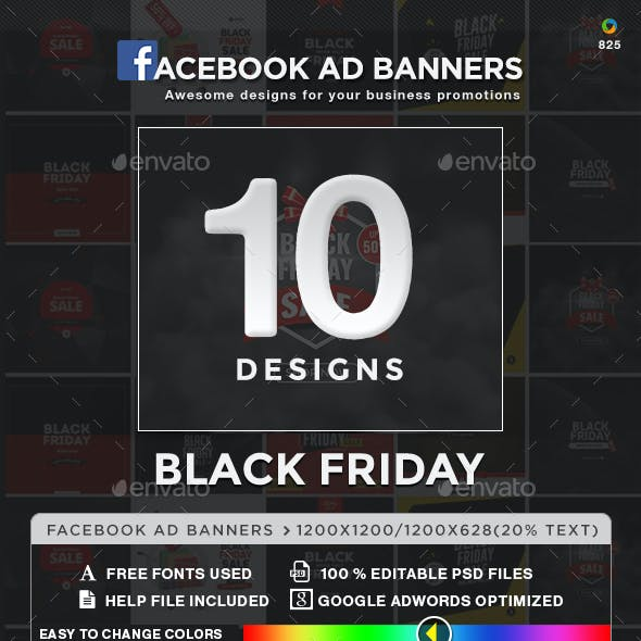 Black Friday Facebook Newsfeed Ads - 10 Designs - 2 Sizes Each