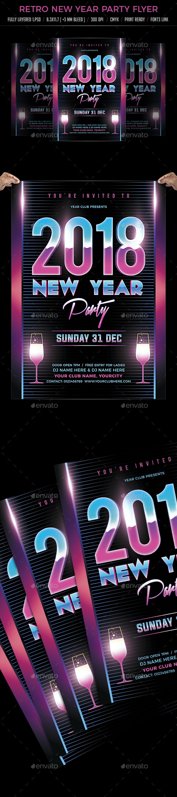 Retro New Year Party Flyer - Clubs & Parties Events