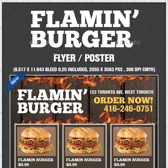 Flamin Burger Poster