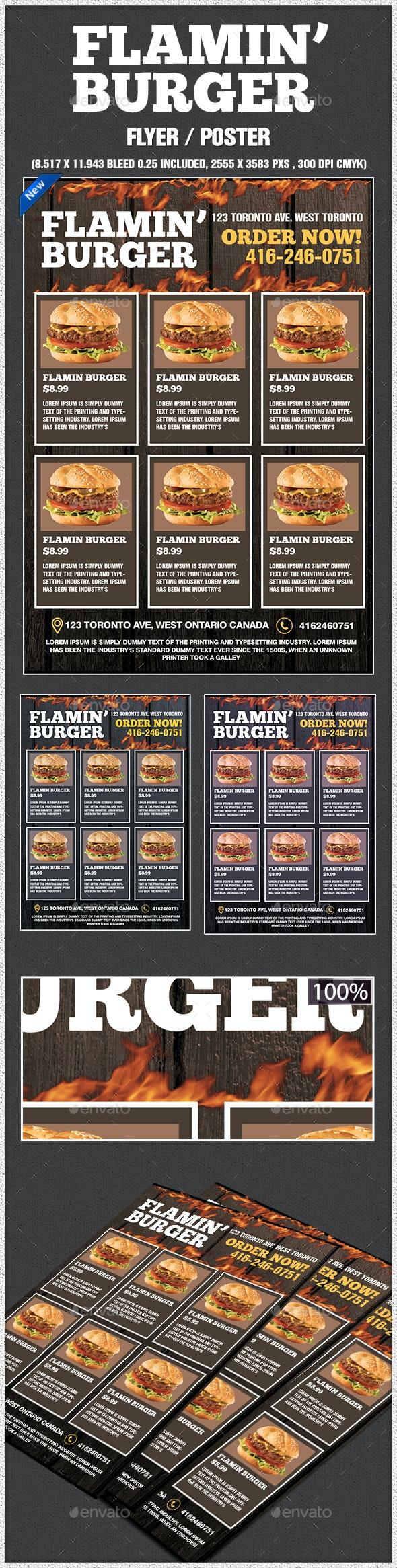 Flamin Burger Poster - Restaurant Flyers