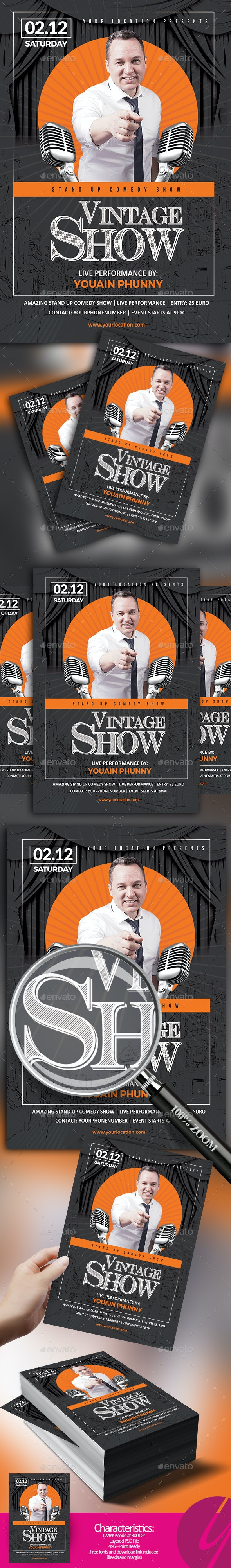 Vintage Comedy Show - Events Flyers