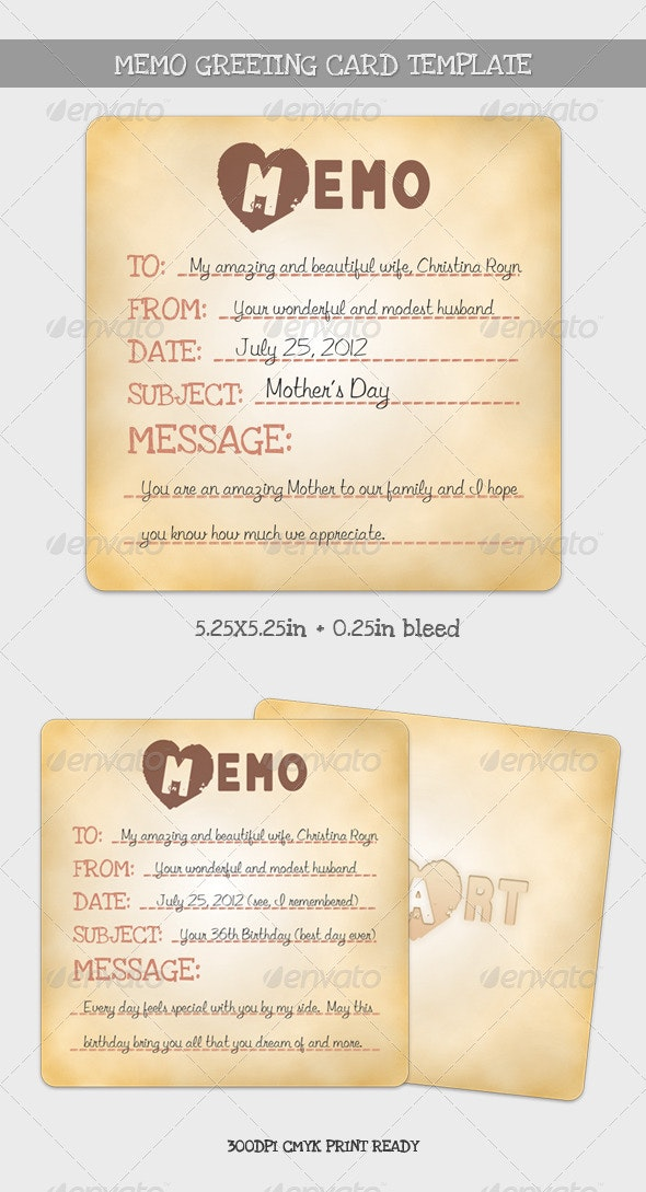 Memo Greeting Card Template - Holiday Greeting Cards