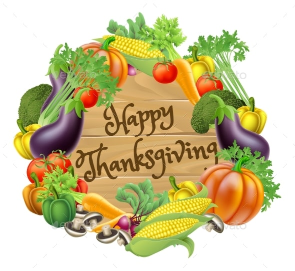 Happy Thanksgiving Vegetable and Fruits Design - Miscellaneous Seasons/Holidays