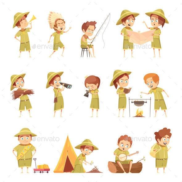 Boy Scout Retro Cartoon Icons Set - Miscellaneous Vectors