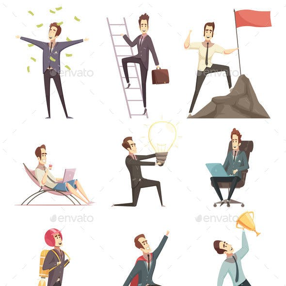 Successful Businessman Cartoon Icons Collection