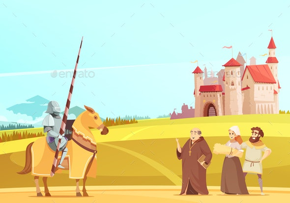 Medieval Life Scene Cartoon Poster - People Characters