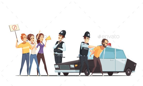 Protesting Crowd And Police Design Concept - Miscellaneous Vectors