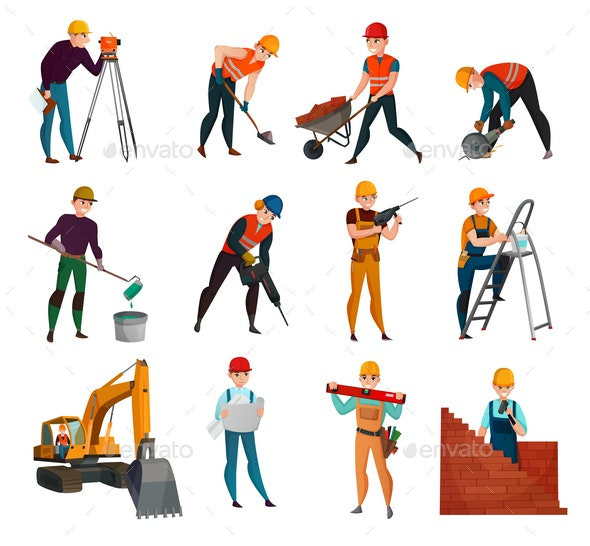 Construction Workers Set - People Characters