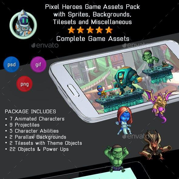 Pixel Heroes Kit 1 of 3 - 2D Complete Pixelart Game Assets Pack