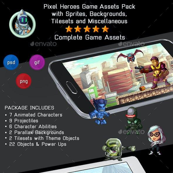 Pixel Heroes Kit 2 of 3 - 2D Complete Pixelart Game Assets Pack