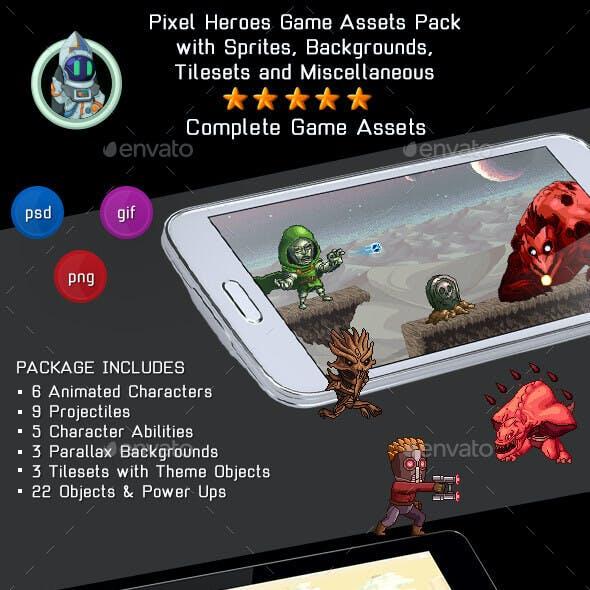 Pixel Heroes Kit 3 of 3 - 2D Complete Pixelart Game Assets Pack