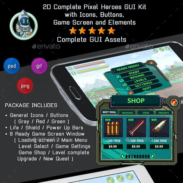 2D Complete Pixel Heroes GUI Kit with icons, game screens and more