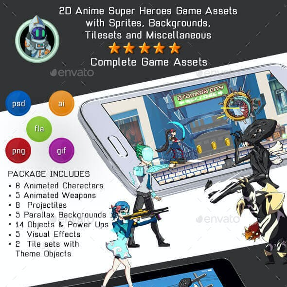 2D Anime Super Heroes Kit 1 of 4 w sprites, backgrounds & more
