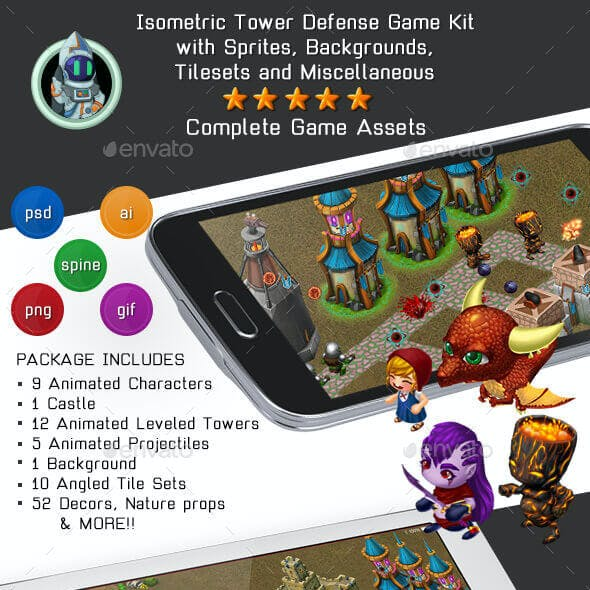 Isometric Tower Defense Game Kit 1 of 3 w character sprites & more
