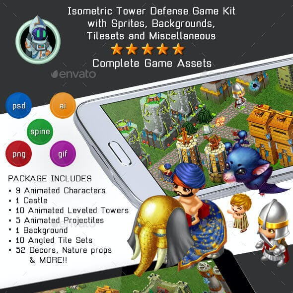 Isometric Tower Defense Game Kit 2 of 3 w character sprites & more