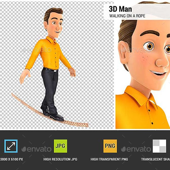 3D Man Walking on a Rope
