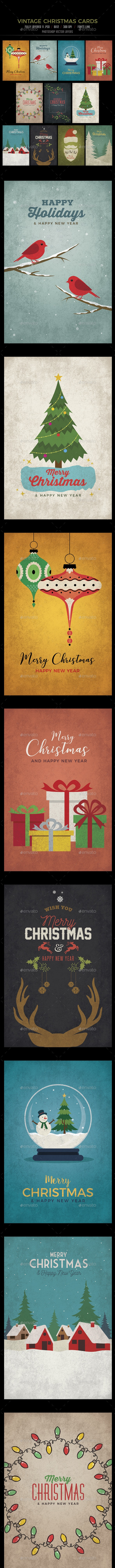 11 Vintage Christmas Card / Backgrounds - Backgrounds Graphics