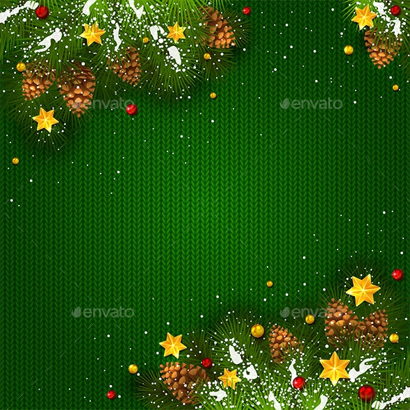 Christmas Decorations with Snow and Stars on Green Knitted Background - Christmas Seasons/Holidays