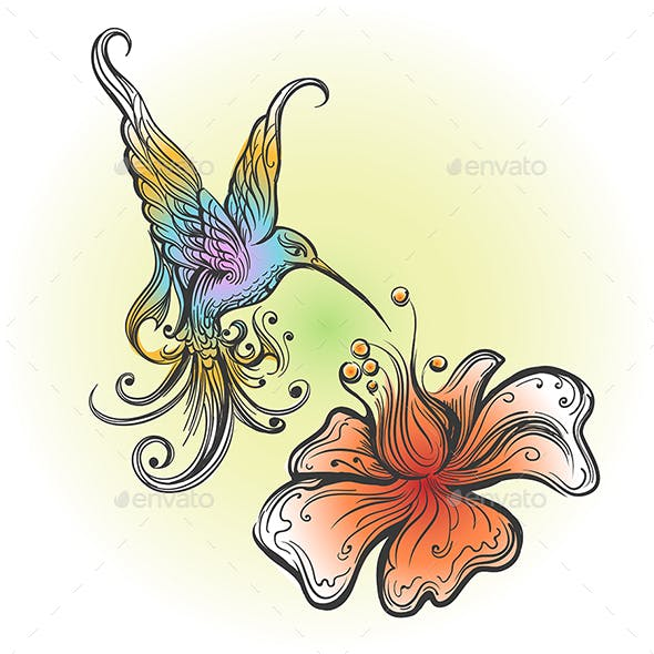Flying Hummingbird in Tattoo Style