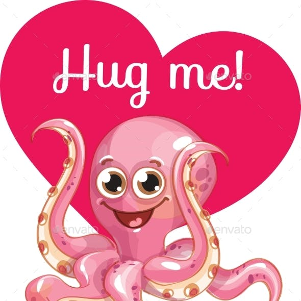 Cartoon Octopus Ready for a Hugging