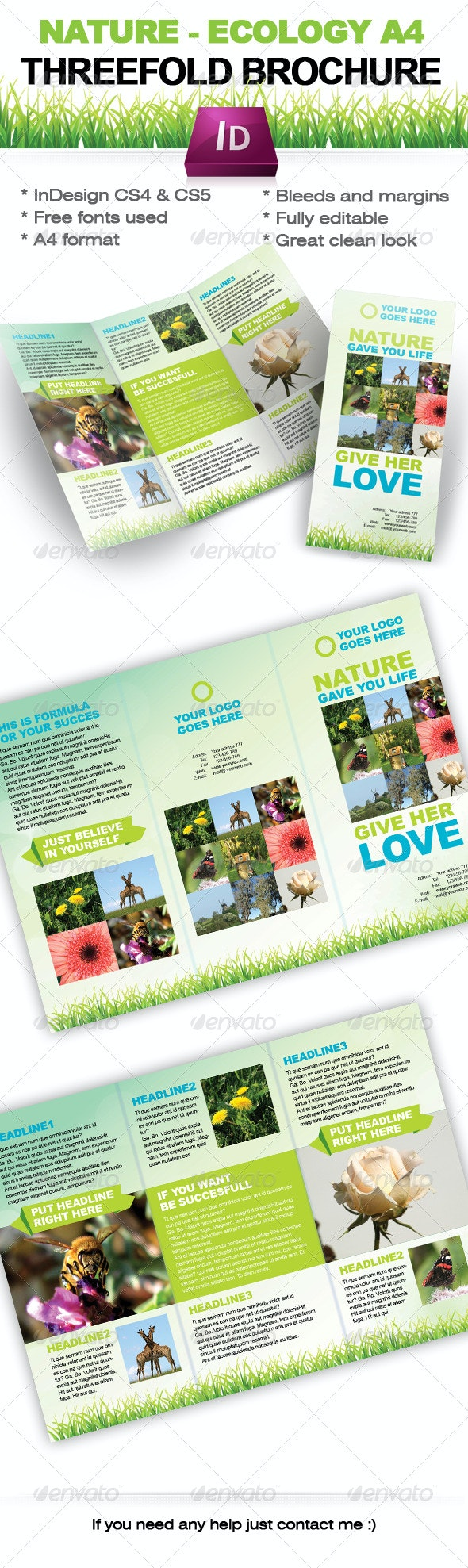 Nature - Ecology Threefold brochure - Indesign A4 - Corporate Brochures