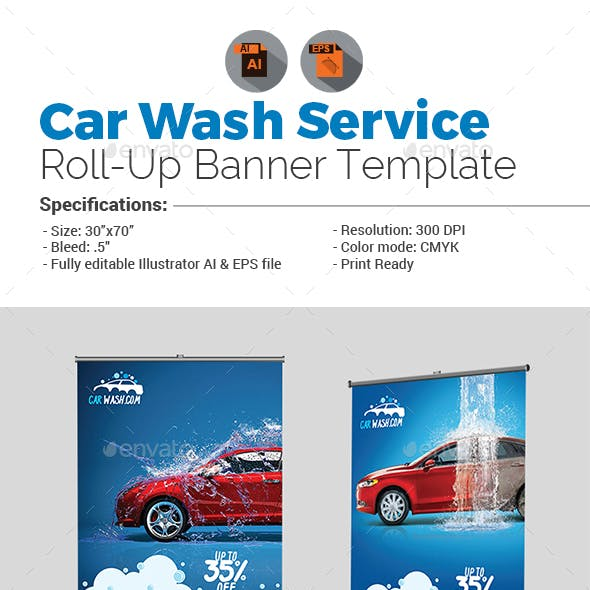 Car Wash Services Roll-Up Template