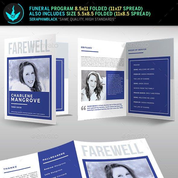 Minimal Blue Funeral Program Template