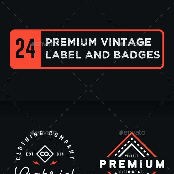 24 Premium Vintage Label and Badges